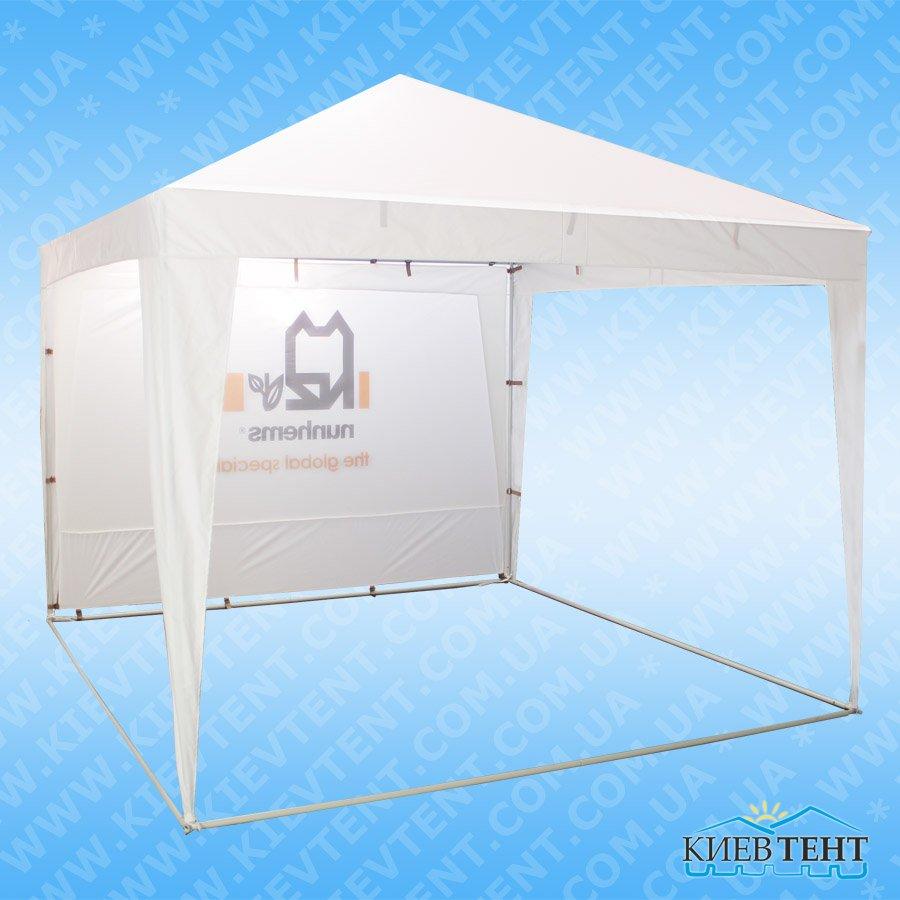 Белый шатер с логотипами